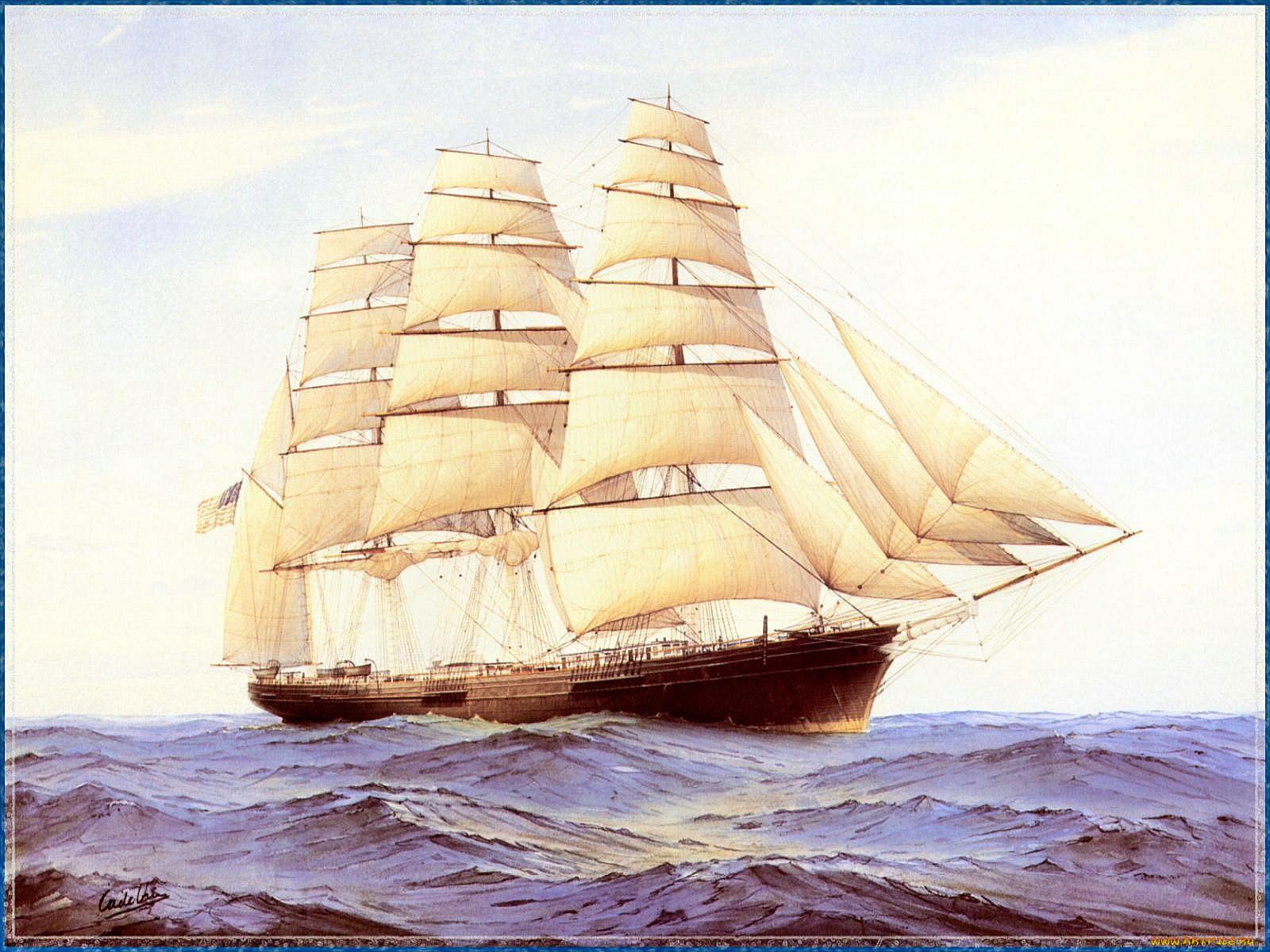 прошлого старинные корабли открытки современного